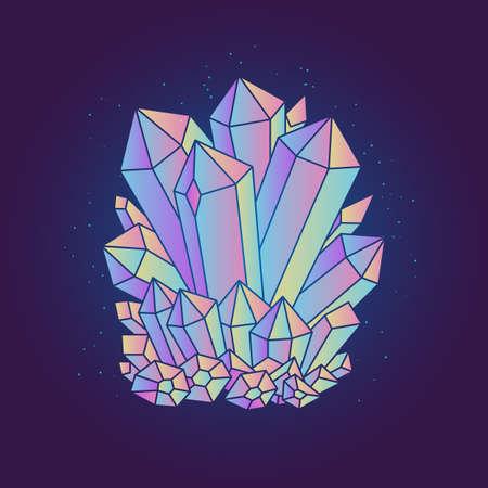 Bright magic crystal isolated on dark background. Vector illustration