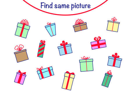 Find the same pictures - children educational game with gifts. Vector illustration