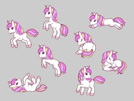 Collection of Cute Cartoon Unicorns. Vector illustration