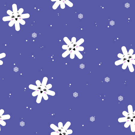 Seamless pattern with a cute happy snowflakes. Kawaii snow. Vector illustration