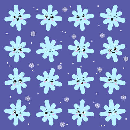 Collection of a cute snowflakes with faces. Kawaii snow. Vector illustration