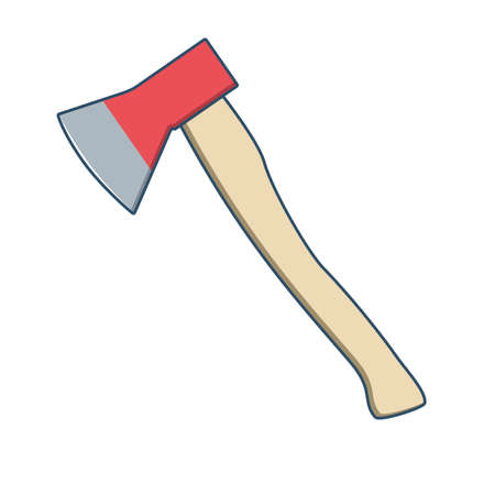 Ax with wooden handle isolated on white background. Vector illustration
