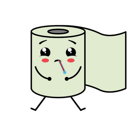 Ailing cute toilet paper. Kawaii character with a thermometer. Vector illustration