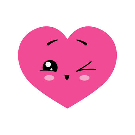 Kawaii pink heart - Winking cute happy character. Vector illustration