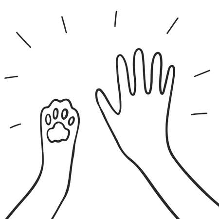 Human and pet - high five. Paw and hand - human-animal friendship concept. Vector illustration Ilustración de vector