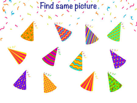 Find the same pictures - children educational game with different party hats. Vector illustration 일러스트