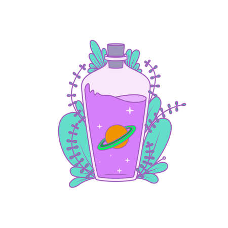 A magical bottle with plants around and a planet and stars inside. Vector illustration Ilustración de vector