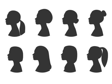 Collection of female profile silhouettes. Different hairstyles side view. Vector illustration Vecteurs