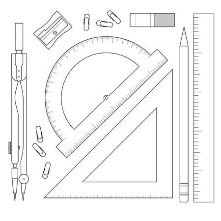 A set of items for measurements - protractor, compasses, ruler. Collection of stationery isolated on white background. Vector illustration