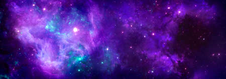 A cosmic background with a colorful purple nebula and shining stars