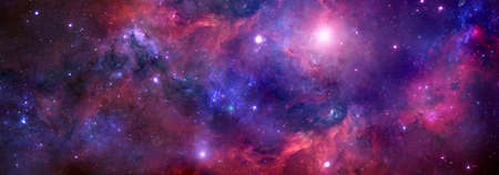 Nebula and stars in the night sky of a web banner. Space background for design Banque d'images