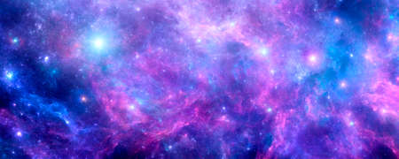 Cosmic background with purple nebula, stardust and shining stars. Blue galaxy Banque d'images