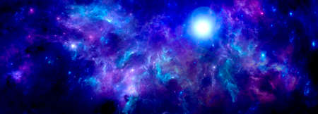 Blue purple cosmic background with nebula and stardust