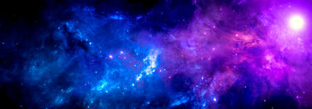 Blue purple cosmic background with a bright nebula and a cluster of stars Banque d'images