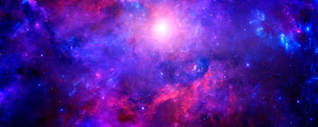 A magical colored galaxy in an infinite universe and a starry night with a bright solar flare