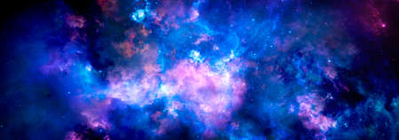 Starry bright nebula and galaxy in deep space, cosmic background