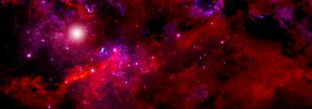 A gas cloud of a red nebula in deep space and a large cluster of luminous stars