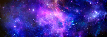 A scientific cosmic background with a nebula and the brilliance of stars in the universe Banque d'images