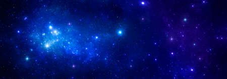 The brilliance of bright blue stars with a nebula on the background of a dark cosmic sky