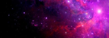 A bright red and purple nebula on the background of the starry sky with a place for text