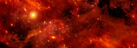 Orange space nebula with stars in space for background