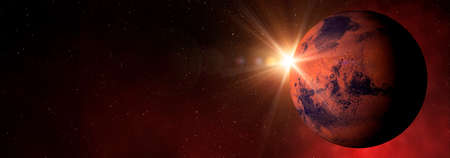 Sunlight over the planet Mars in the red starry outer space