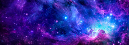 Cosmic background with a blue purple nebula and stars