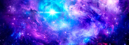 Cosmic background with a purple nebula and a bright star