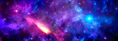 A cosmic background with a purple nebula and glowing stars