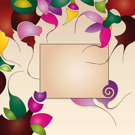 abstract flowers: label on background with abstract flowers Illustration