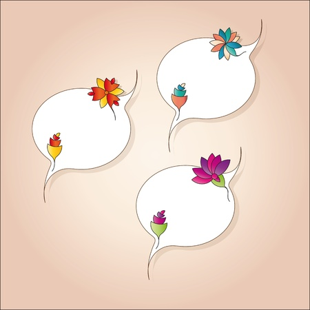 delicious tags with abstract flowers