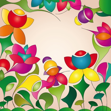 label on background with funny flowers Illustration