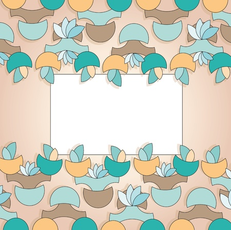 label for greeting card with floral shapes on beige background