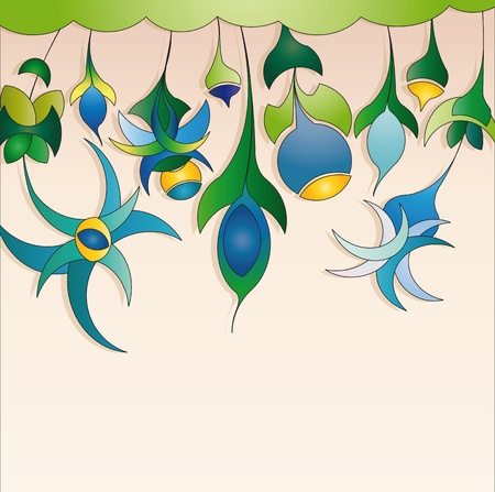 background with blue abstract flowers