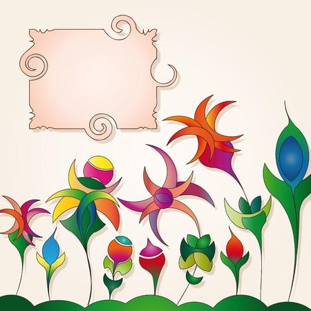 꽃 배경에 이상한 레이블 일러스트