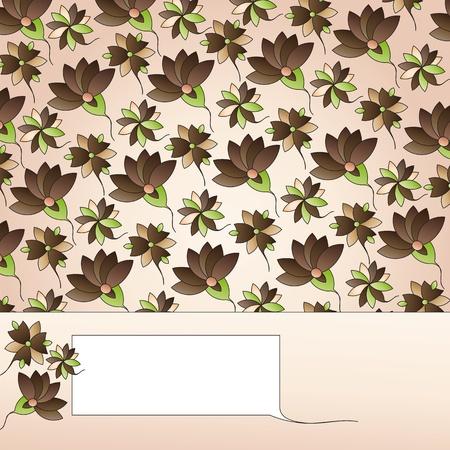 label on floral background