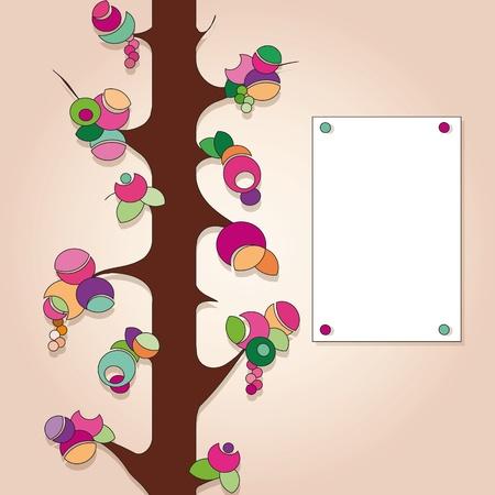 label with fruit tree Illustration