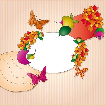 label with orange and pink decoration Illustration