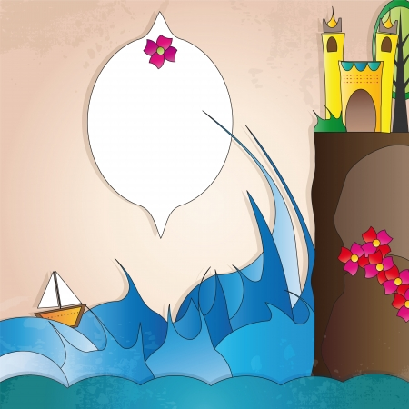label with waves and castle Illustration