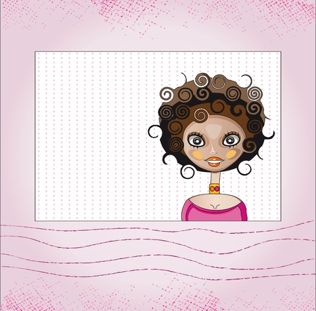 fashion girl on pink background Vector