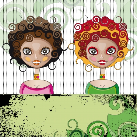 girls with curly Illustration