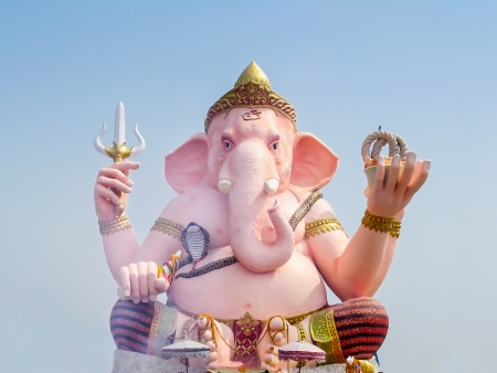 Big pink Ganesha statue in Thailand Stock Photo - 22002468