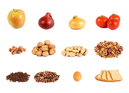 Food collage, isolated Stock Photo