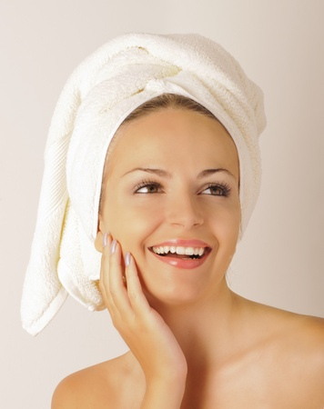 Pretty girl with towel on her head Stock Photo - 10883871