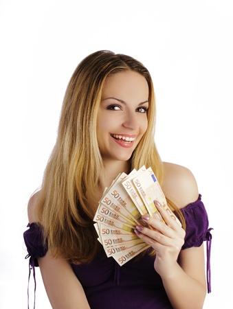 50 euro: Girl holding money