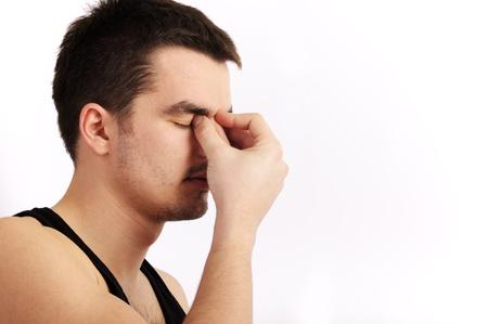 sinus: Man with a headache