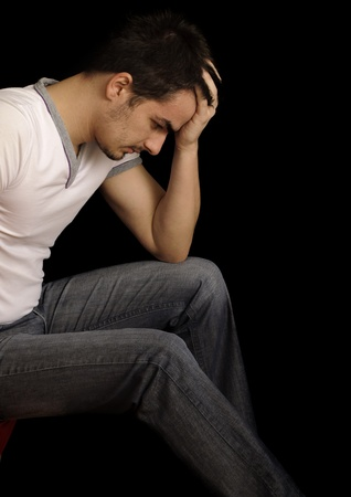 hangover: Depressed man Stock Photo