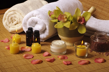 spa therapy: Beautiful day spa setting Stock Photo