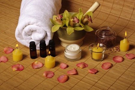 Spa setting with rose petals
