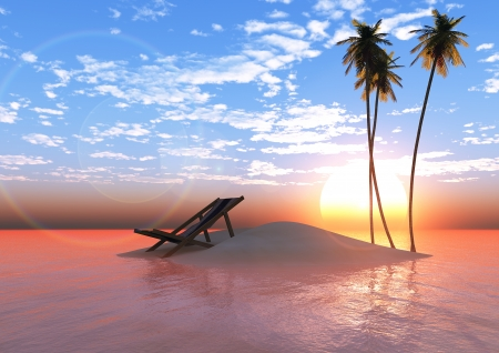 Island at sunset with palm trees and deck chairs